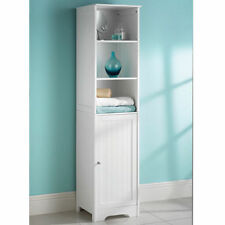 Large White Wooden Tall Shelving Unit Bathroom Cabinet Tall Boy Cupboard Storage