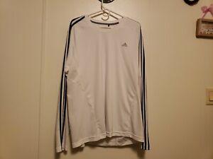 Adidas Shirt Adult Extra Large White Climalite Long Sleeve Breathable Men's