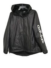 Addidas Black Light Weight Rain Hooded Jacket Coat Size XL Unisex