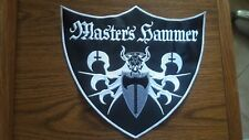 MASTER'S HAMMER,SEW ON WHITE WITH WHITE EDGE EMBROIDERED PATCH