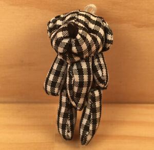 "GINGHAM THE BEAR ""Black & White"" Cute Miniature Teddy Bear Tiny Soft Toy Friend"
