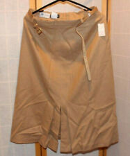 Wool Pleated Skirt Nos Vintage Panther 100% Front Ankle Length Brown Zipper back