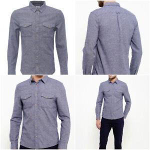 Ex Burton Menswear Men's Blue Marl Hue Grindle Long Sleeve Cotton Shirt RRP £28