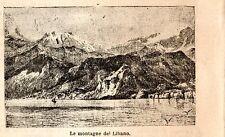 Stampa antica LIBANO LEBANON veduta delle montagne 1898 Old print