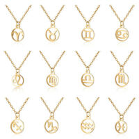 12 Constellation Scorpio Pendant Necklaces Zodiac Signs Stainless Steel Jewelry