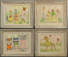 Vintage 1960s Childrens Illustration Nursery Whimsical Animal Folk Art Paintings