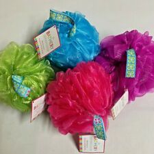 New 4 Lot Bathery Bath Shower Accessory Mesh Plush Sponge Red Green Blue Purple
