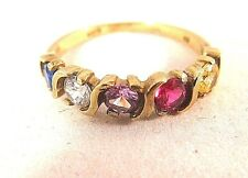 GOLDEN TOPAZ RUBY AMETHYST DIAMONIQUE SAPPHIRE 2.2GR GOLD VINTAGE RING Size 7