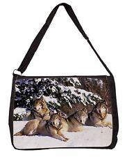 Wolves in Snow Large Black Laptop Shoulder Bag School/College, AW-8SB