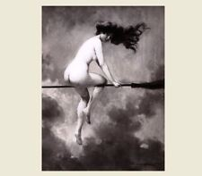 Nude Flying Witch PHOTO Broomstick Girl,1910 Departure for the Sabbath,Scary Hot