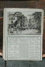 Rare Original Calendarium Londinense 1934 William Monk Almanac Etching London