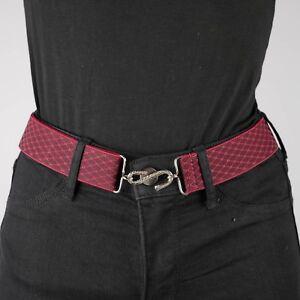 Burgundy Elastic Belt Chain Link Red Womens Elasticated Snake Belt Unisex UK
