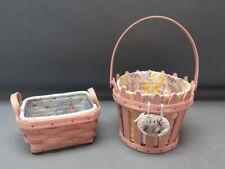 (2) Longaberger 2006 Pink Picket Pail & Tea Baskets, Liners & Protectors