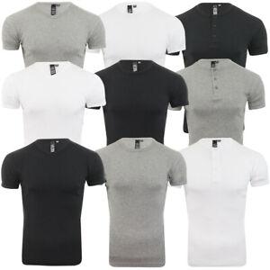 Men Short Sleeve T-Shirt Grandad Crew Vee Neck Cotton Muscle Tee Gym Soul Star