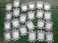 "Lot of 23 Silver metal tone photo picture frames mini  decor 2x2.5"" wedding"