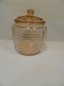Vintage Depression Glass Pink Ribbed Bee Hive Cookie Jar/Biscuit Jar