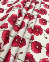 Rose & Hubble 100% cotton Remembrance poppy ivory fabric half/full mtrs & FQ