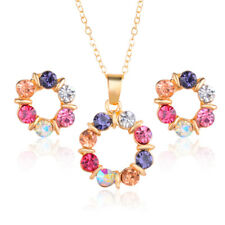 Jewelry Sets Gold Plated Colorful Circle Shiny Crystal Necklace Earrings