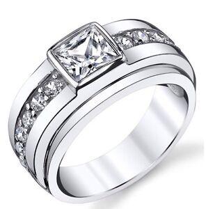 Sterling Silver Men's High Polish 1.5 Carat Princess Cut Wedding Ring Size 7-12