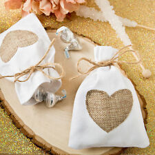 75 - Rustic Shabby Chic Favor Bag With Burlap Heart - Wedding Favors