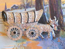 FRENCH PASTE OXEN & COVERED WAGON RHINESTONE ENAMEL PIN BROOCH MOVING WHEELS
