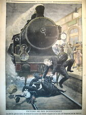 CREIL TRAIN EXPRESS LOCOMOTIVE CHEF DE GARE NOCE BRETAGNE LE PETIT JOURNAL 1910