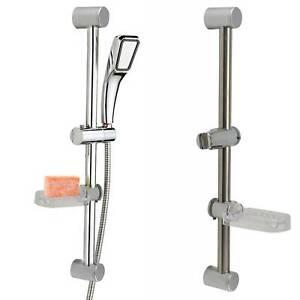 Chrome Bathroom Shower Riser Rail Bracket Shower Head Holder Bar Kit Adjustable