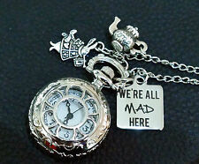 We Are All Mad Here Alice in Wonderland Pocket Watch Long Necklace