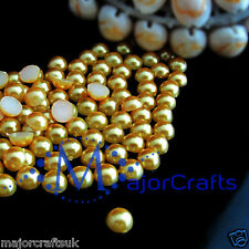300pcs Yellow Gold 7mm Flat Back Round Resin Pearls, Beads, Gems (Not Acrylic)