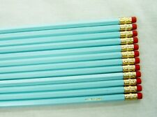 "12 Hexagon ""Pastel Blue"" Personalized Pencils"