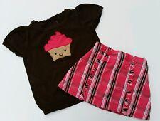 Gymboree Girls Cupcake Sweater Plaid Skirt Crazy 8 Pink Brown  BTS Size 4 3