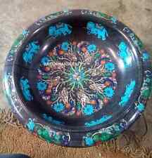 """12"""" Marble Black Fruit Bowl Marquetry Turquoise Dining Table Decor Gifts H2814"""