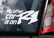 'My Other Car is an R1' - Car Window Sticker -Superbike Yamaha Yzf Decal - V02