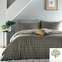 Appletree Echo Spots Duvet Cover Bedding Set Cotton Spotted Quilt Grey and Ochre