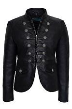 Luxury Ladies Party Jacket Black Real Italian Napa Leather Military Style Design