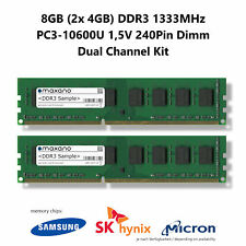8GB Dual Channel Kit (2x 4GB) DDR3 1333MHz (PC3-10600U) 1,5V 240Pin Dimm