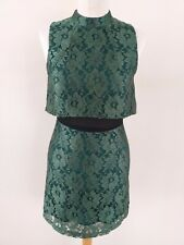 TOPSHOP SIZE 8 GREEN & BLACK MIX FLORAL LACE DRESS