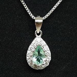 World Class .60ctw Apatite & Diamond Cut White Sapphire 925 Silver Pendant
