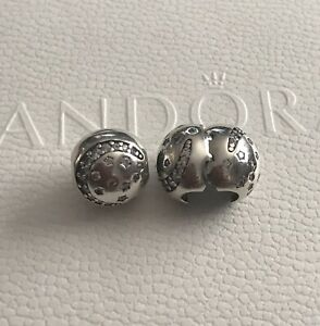 Genuine Pandora Sterling Silver Twinkling Night Clip X 2 - 791386CZ