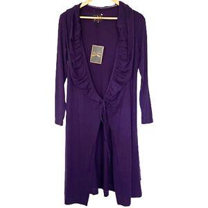 Vivienne Westwood Anglomania Purple Karate Wool wrap cardigan dress Xl Ruffle