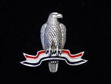 """JJ"" Jonette Jewelry Silver Pewter 'AMERICAN EAGLE Flag Ribbon' Pin"