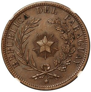 1870 SHAW Paraguay 4 Centimos Copper Coin - NGC AU 55 BN - KM# 4.1