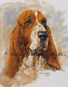 SALE Basset Hound Signed Dog Print by Susan Harper Unmounted