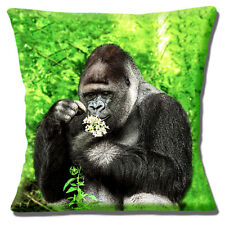 Silverback Gorilla Cushion Cover 16x16 inch 40cm Forest Setting Flowers Photo