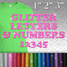 Glitter Name Letters Numbers IRON-ON Tshirt FABRIC TRANSFER Custom Sticker PROM