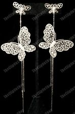 CLIP ON very long BIG BUTTERFLY EARRINGS GOLD/SILVER slinky light&comfy large