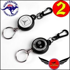 2 X Heavy Duty Steel Recoil Retractable Pull Key Ring Belt Clip Id Card Holder
