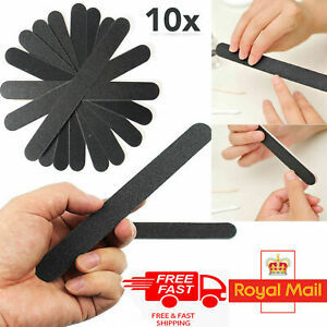 Black Sandpaper Nail Files STRAIGHT Fine Grit Black File Acrylics Gels Tips