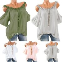 Women Boho Floral Cold Shoulder Blouse Ladies Plus Size Holiday T Shirt Tee Top