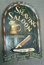 "Rare Old orig.wooden Folk art Barber Shaving "" Leeches Removed"" advertizing sign"